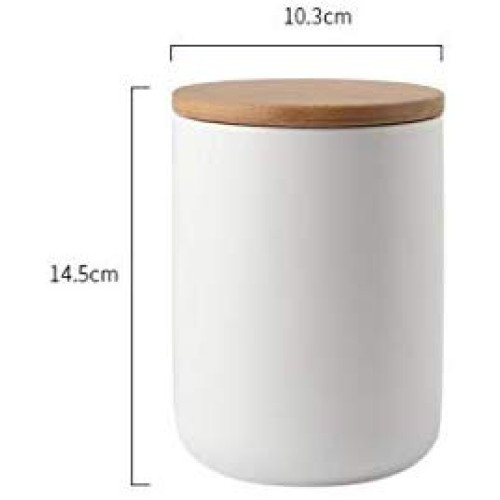 Ceramic Food Storage Jar Canister Modern Design Food Canisters with Airtight Seal Bamboo Lid,Loose Tea Coffee Spice Nuts Snacks Seasonings Storage Jar Canister Caddy (white 27.05oz/800ml)