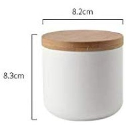 Ceramic Food Storage Jar Canister Modern Design Food Canisters with Airtight Seal Bamboo Lid,Loose Tea Coffee Spice Nuts Snacks Seasonings Storage Jar Canister Caddy (White 8.79oz/260ml)