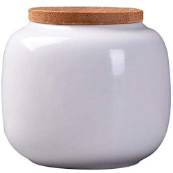 Ceramic Storage Jars, Modern Design Ceramic Storage Canisters with Bamboon Lid, Small Food Stroage Jar for Kitchen Spice, Tea, Coffee, Condiment (White)