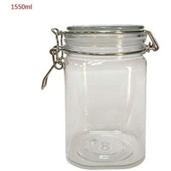 1550Ml Plastic Clip Top Storage Jar with Airtight Seal Lid Food Container Tableware Preserving Kitchen Flour Pasta Spice