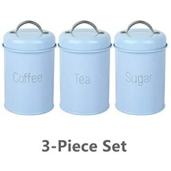 2019 New Food Storage Jars for Snack Tank Container Eating with Lid Bottle Coffee Tea Candy Kitchen Cupboard Seal Canister,Blue 3 piece-set