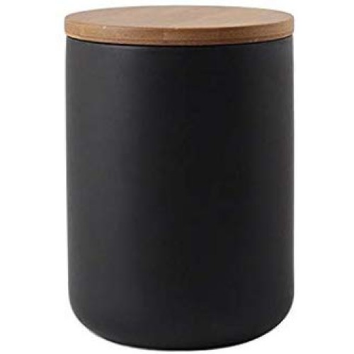 Ceramic Food Storage Jar Canister Modern Design Food Canisters with Airtight Seal Bamboo Lid,Loose Tea Coffee Spice Nuts Snacks Seasonings Storage Jar Canister Caddy (black 27.05oz/800ml)