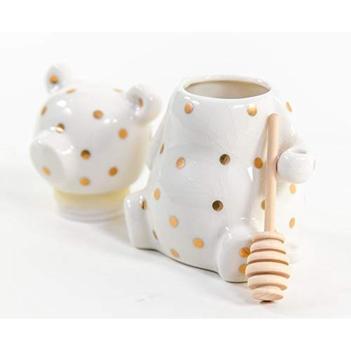 PIPPA & HADLEY Honey Jar Pot w/Wood Dipper & Lid | Ceramic Storage Container for Home & Kitchen | Decorative Canister