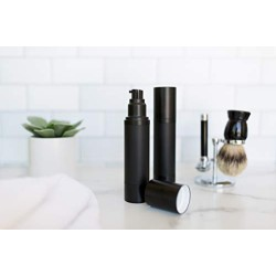 (2 Pack) 50ml Matte Black Airless Pump Bottle Luxury Container - Refillable Cosmetic Dispenser