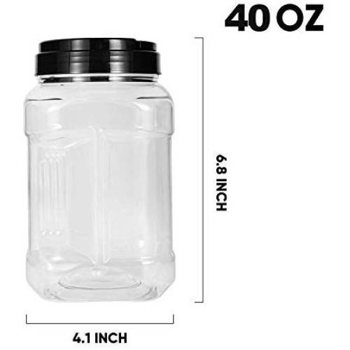 40oz Plastic Jars With Lids, Accguan Airtight Container for Food Storage, Clear Square Jars Ideal For Kitchen & Household Storage Of Dry Goods, Peanut Butter, Set of 12