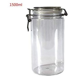 1500ML Plastic Round Clip Top Storage Jar With Airtight Seal Lid Food Container Tableware Preserving Kitchen Flour Pasta Spice
