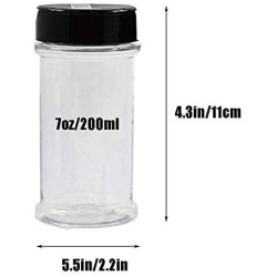16 Pack 7oz Clear Plastic Spice Jars Storage Container Bottle Containers with Black Cap Perfect for Storing Spice,Herbs and Powders(Provide chalkboard labels,Chalk Marker)