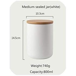 260Ml/800Ml/1000Ml Sealed Ceramic Storage Jar With Bamboo Lid Spices Tank Container Kitchen Food Bottle Coffee Tea Caddy,M Sealed Jar-White