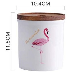 One-Pine Ceramic Food Storage Jar with Environmentally Friendly Sealed Lid,480ml / 16oz Flamingo Food Storage Canister Container for Tea Sugar Coffee Bean Nuts Grain