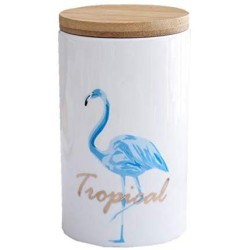 One-Pine Ceramic Food Storage Jar with Environmentally Friendly Sealed Lid,600ml Flamingo Food Storage Canister Container for Tea Sugar Coffee Bean Nuts Grain (Blue)