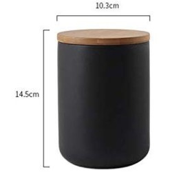 260ML/800ML/1000ML Sealed Ceramic Storage Jar For Spices Tank Container For Eating With Lid Bottle Coffee Tea Caddy Kitchen,M black