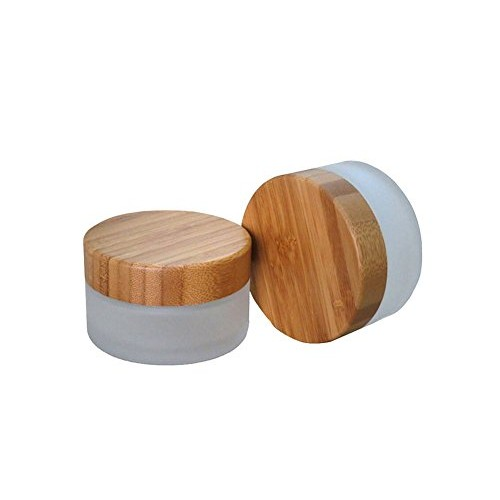 TOPWEL 30ML(1 OZ) Frosted Glass with Bamboo Lid Empty Refillable Cosmetic Cream Jar Pot Bottle Container (2pcs)
