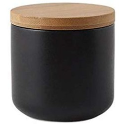 Ceramic Food Storage Jar Canister Modern Design Food Canisters with Airtight Seal Bamboo Lid,Loose Tea Coffee Spice Nuts Snacks Seasonings Storage Jar Canister Caddy (Black 8.79oz/260ml)