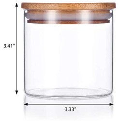 10 oz Premium Borosilicate Clear Glass Jars with Bamboo Silicone Sealed Lid (1 Pack) + Labels