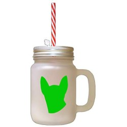 Green Modern Siames Cat Head Silhouette Frosted Glass Mason Jar With Straw