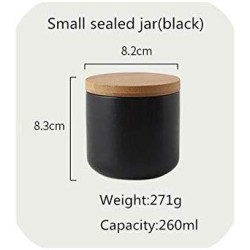 260Ml/800Ml/1000Ml Sealed Ceramic Storage Jar With Bamboo Lid Spices Tank Container Kitchen Food Bottle Coffee Tea Caddy,S Sealed Jar-Black