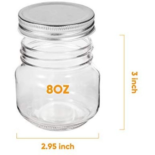 Mason Jars,Accguan glass jar 8OZ With Regular Lids and Bands(Silver),Ideal for Jam,Honey,Wedding Favors,Shower Favors,Baby Foods,24 PACK,