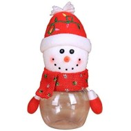 Wenirn 2 in 1 Christmas Candy Jar Sugar Container Nuts Storage Bottle Clear Plastic Santa Claus Candy Dish Holder Xmas Home Decor, 2.8x6.7inch
