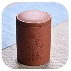 7.511Cm Chinoiserie Style Tea Canister Ceramic Cans For Spices Storage Purple Clay Tea Sealed Storage Box Tank Tea Jar Potjes,Hongsemeihua