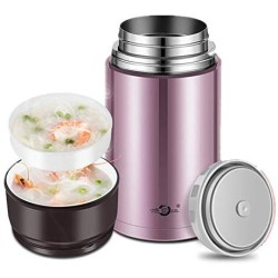BWTDC Food Jar Stainless Steel Lunch Thermos Simple Modern Vacuum Insulated Flask Leak Proof Kids Food Storage Container Flask,1200ML
