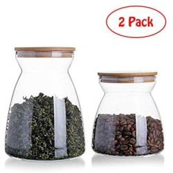 LEGOU Food Storage Jar,Glass Food Storage Jar with Airtight Seal Bamboo Lid - Modern Design Clear Food Storage Canister for Serving Tea, Coffee, Spice and More