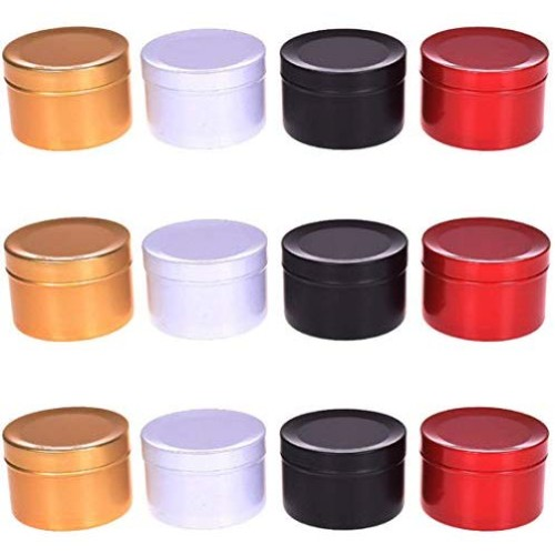 MEABEN Pack of 12 Aluminum Tins Round Metal Tin Container Screw Top Steel Tin Cans Cosmetic Sample Containers Tea Cans Bulk Food Storage Metal Steel Tin Jars Candle Travel Tins(50ml/2.11oz)