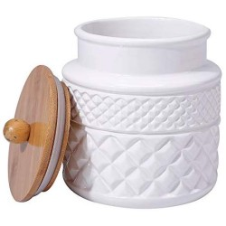 Ceramic Food Storage Jar with Airtight Seal Wooden Lid - Modern Design White Ceramic Kitchen Canister for Serving Tea, Coffee, Spice, Sugar, Salt and More