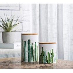 Cactus Ceramic Food Storage Jar with Seal Wooden Lid,Modern Design White Ceramic Food Storage Canister for Serving Coffee, Sugar, Tea, Salt, Spices and more Kitchen Food (Large)