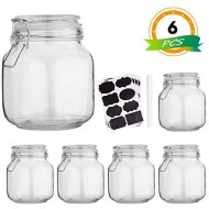 Glass Kitchen Storage Canister Mason Jars with Lids,32oz Airtight Glass Canister with Hinged Lid,Perfect for Kitchen Canning Cereal,Pasta,Sugar,Beans (Labels & Chalk Marker)-Set of 6