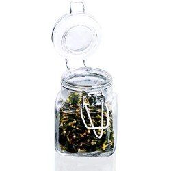 1/3/6/9/12 Pcs 3 Airtight Square Spice Glass Jar with Leak Proof Rubber Gasket and Hinged Lid for Home,3Pcs A Set