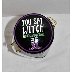 """25 Home Decor New 8""""&quotYou SAY Witch Like Its A Bad Thing Witch Boots Air Tight Ceramic Hinged Lid & Glass Canister Storage Jar"""