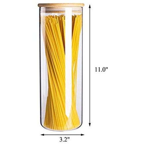 3.15 x 11 Inch Spaghetti Container, 38 OZ Airtight Glass Pasta Canister & Jar, Seal Pot with Clear Glass & Bamboo Lid, Kitchen Corner & Cabinet Organization, Dispenser for Cereal, Flour, Liquid