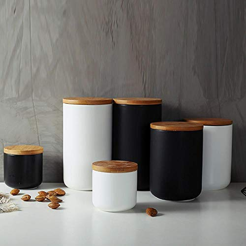 Food Storage Jar Strong Ceramic Storage Canisters with Airtight Seal Bamboo Lid Modern Design Seal Damp-Proof Kitchen Jar for Coffee, Tea, Spice and More (Black(M: 10.3X14.5cm))
