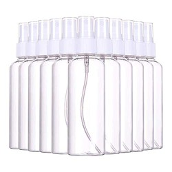 (12 PCS) 3.4oz/ 100ml Plastic Clear Spray Bottles,Refillable Fine Mist Sprayer Bottles Makeup Cosmetic Atomizers Empty Small Spray Bottle Container for Essential Oils, Travel, Perfumes,12PCS