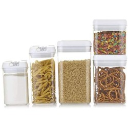 Airtight Food Storage Containers With Lids + 16 Labels and Marker - 5-Pack