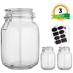 Glass Kitchen Storage Canister Mason Jars with Lids,50oz Airtight Glass Canister with Hinged Lid,Perfect for Kitchen Canning Cereal,Pasta,Sugar,Beans (Labels & Chalk Marker)-Set of 3