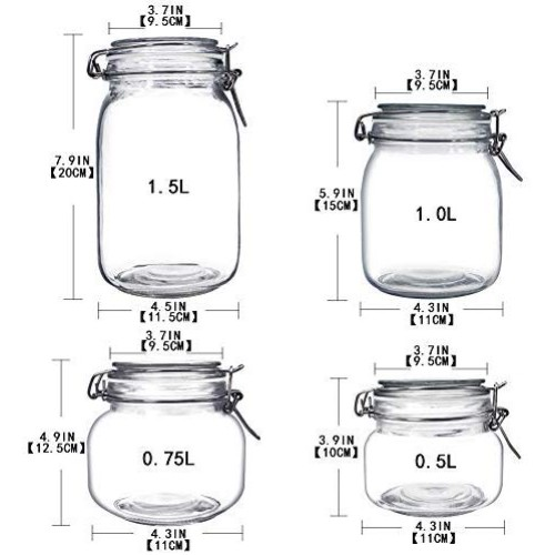 YEBODA Food Storage Canister Set Glass Jars with Clamp Airtight Lids and Silicone Gaskets for Multi-Purpose Kitchen Containers - Clear Square (4 Piece)