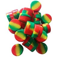 50PCS Rasta Non-Stick Food Grade Silicone Wax Dab Containers 5ml Non Stick Wax Oil Multi Use Storage Jars with 1 Stainless Steel Carving Tool(Rasta)