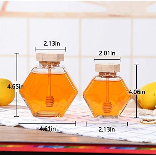 Liitrton Hexagon Shape Honey Pot Jar with Dipper Heat-Resistant Glass Storage Container for Home Kitchen (small 100ml, medium:220ml & large size 380ml)