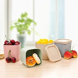 1 pc Wheat Straw Jar Moistureproof Sealed Plastic Food Storage Canister Container Box with Lid,As Shown2,Large