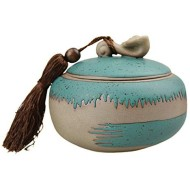 Ceramic Tea Canisters Vintage Chinese Style Tea Caddy Coffee Storage Jars Crock Sugar Bowl Spices Condiment Pots Container with Sealed Lid for Home Kitchen Restaurant Decor Collection Gift, 7 Oz