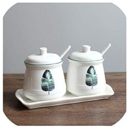 2 Piece Set Combination Nordic Ceramic Seasoning Jar Kitchen Supplies Storage Tank Household Oil Salt Cans Sugar Cans for Gift,II(WITH TRAY)