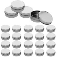 Mimi Pack 24 Pack Tins 2 oz Shallow Round Tins with Solid Slip Lids Empty Tin Containers Cosmetics Tins Party Favors Tins and Food Storage Containers (Silver)