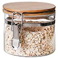 Jzenzero Food Storage Jar Glass Food Storage Jar with Airtight Seal Bamboo Lid Snap-Fit Glass Canister for Rice Sugar Tea Coffee etc