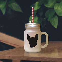 Black Modern Siames Cat Head Silhouette Frosted Glass Mason Jar With Straw