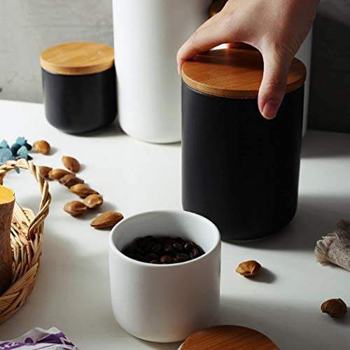 Ceramic Food Storage Jar Canister Modern Design Food Canisters with Airtight Seal Bamboo Lid,Loose Tea Coffee Spice Nuts Snacks Seasonings Storage Jar Canister Caddy (black 33.81oz/1000ml)