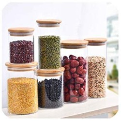 1 Pcs Transparent Glass Jar Glass Sealed Canister Food Storage Bottles Seasoning Jar With Bamboo Cover Kitchen Tools,220Ml-Bamboo