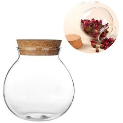 1 PCS 500ML 17OZ Empty Transparent Glass Sealing Container with Cork Multipurpose Candy Coffee Beans Tea-leaf Storage Can Jar Heat-Resistant Food Collection Tin Pot for Kitchen Home Use