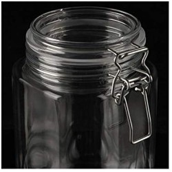 1250Ml Plastic Clip Top Storage Jar with Airtight Seal Lid Food Container Tableware Preserving Kitchen Flour Pasta Spice