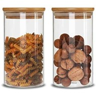IDEALUX Food Storage Jar Set of 2(48oz)Glass Food Storage Jar with Airtight Seal Bamboo Lid, Clear Food Storage Container for Serving Tea, Coffee, Spice and More